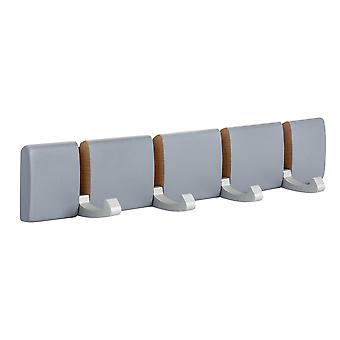 Wooden Wall Mount Coat Rack - 4 Foldaway Metal Hooks - Grey