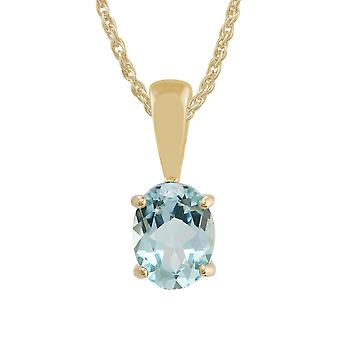 Classic Oval Blue Topaz Claw Set Pendant Necklace in 9ct Yellow Gold 10720