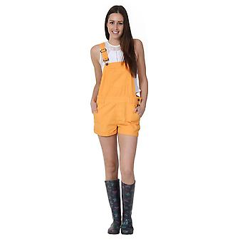 Ladies relaxed fit bib overall shorts - orange - size 16 & 18 only