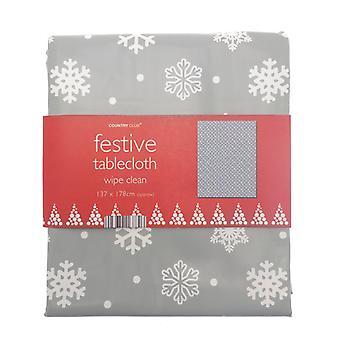 Country Club PVC Tablecloth, Grey Snowflake