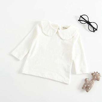 Newborn Baby Boy White T-shirt Kids Girls Long-sleeved Cotton Blouse Tops Tee Shirts White Ruffle Clothes