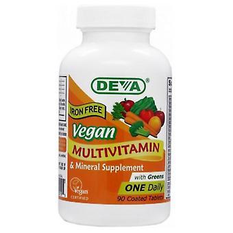 Deva Vegan Vitamins Vegan, Multivitamin Without Iron, 90 Tab