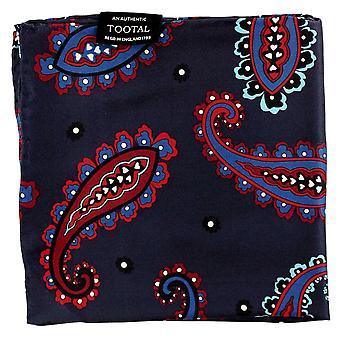Ties Planet Tootal Navy, Burgundi, Royal Blue, Fehér, Piros és Aqua Blue Nagy Paisley mintás selyem zsebkendő
