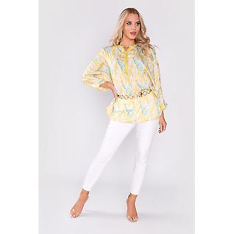 Aghate long sleeve tunic satin longline top in yellow and green print