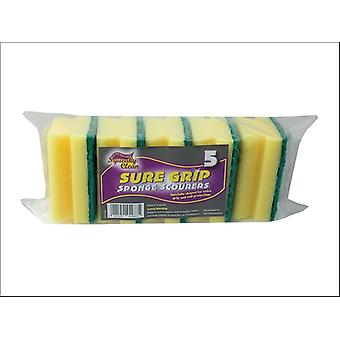 Squeaky Clean Sure Grip Sponge Scourers x 5 840.5SQ2