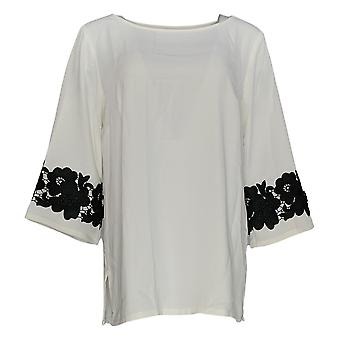 Linea by Louis Dell'Olio Women's Top Lace Applique On Sleeve White A347453