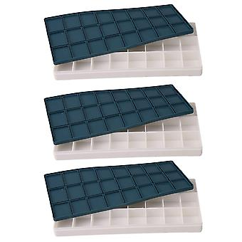 Plastic Rubber Box Palette Paint Case for Acrylic with 24 Grids Set of 3