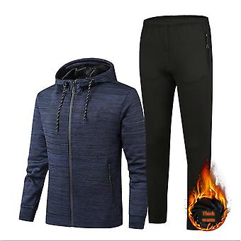 Autumn And Winter New Cationic Men's Suit Outdoor Hooded Slim Sweater Plus Velvet Thickened Warm Fleece Warm Pants