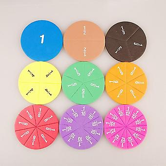 Circular Numbered Fractions Counting Chips Montessori Educational Math