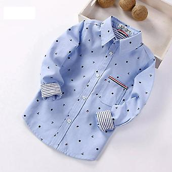 Spring Full Sleeve Printed Anchor Auspicious Pattern Shirts/kid Casual Clothes