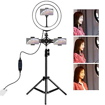 PULUZ Dual Phone Brackets Horizontal Holder + 1.1m Tripod Mount + 10 inch 26cm LED Ring Vlogging Video Light  Live Broadcast Kits (Black)