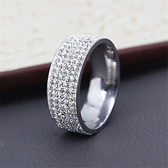 Vintage Retro-Stil Stahl Ring Kristall Schmuck Mode Edelstahl