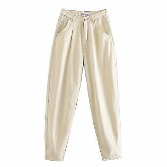 Tangada Fashion Vrouwen Loose Mom Jeans Lange Broek
