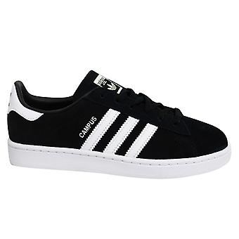 Adidas Originals Campus Kids Black White Leather Lace Up Youths Trainers BY9594