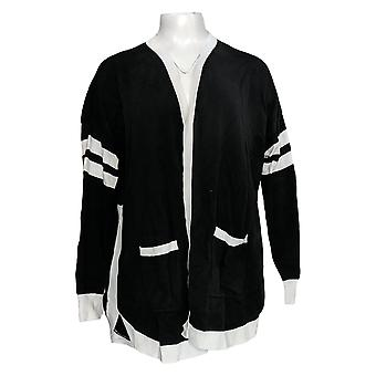 Rachel Hollis Ltd Women's Sweater Varsity Cardigan Black A374196