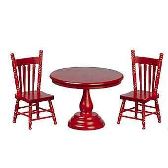 בית בובות מהגוני עגול שולחן &&; סט ריהוט מיניאטורי עם 2 כיסאות