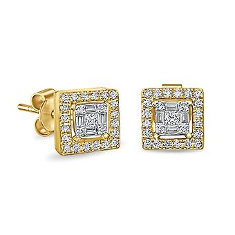 Earrings Ivy Square Cut 18K Gold and Diamonds