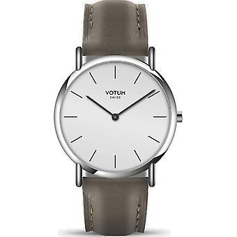 VOTUM - Reloj de señoras - SLICE SMALL - PURE - V05.10.40.06 - correa de cuero - gris-marrón