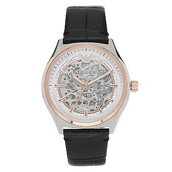 ארמני Ar60018 אמפוריו כסף & שחור עם טקסטורה עור גברים & שעון