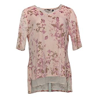 H Par Halston Women's Top Velvet V-Neck Tunic With Chiffon Hem Pink A345774