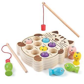 Çocuklar Ahşap Montessori Manyetik Kedi Yavrusu Balıkçılık