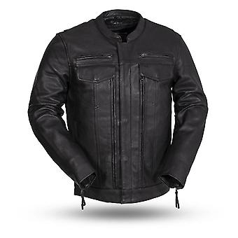 Gearmo mens genuine leather motorcycle jacket