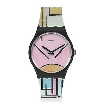 Swatch Gz350 Composition In Oval With Color Planes 1 Silicone Watch