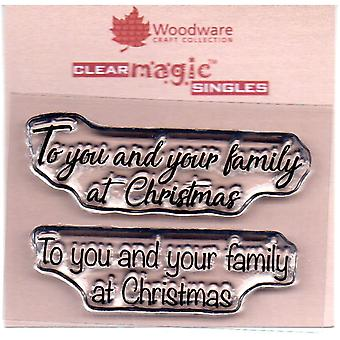 Woodware Just Words To You And Your Family At Christmas 1.5 in x 3 in Stamp
