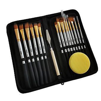 17 stk oljemaleri børste hår børste palett kniv beautification verktøy