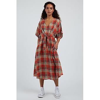 Louche Womens Elody Arizona Check Short Sleeve Midi Dress Multi