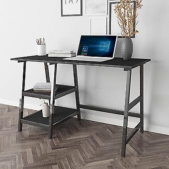 HanFei Schreibtisch mit 2 Ablagen, 120x60cm Computertisch Brombel PC Tisch Brotisch Arbeitstisch fr