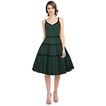 Chic Star Plus Size Trims Retro Dress In Green