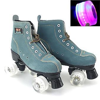 Jk Pu Leather Roller Skates Double Line Skates/men