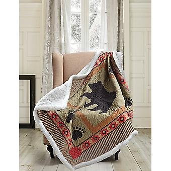 Spura Home Patchwork Bear and Paw Contemporary Quilted Sherpa Throw
