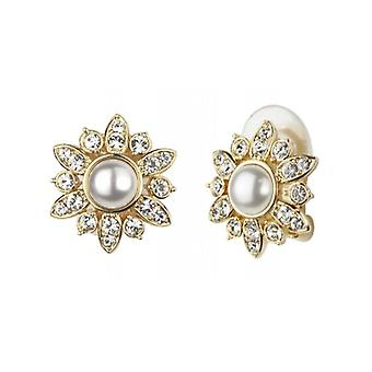 Traveller Clip Earrings - White Pearls - 22ct Gold Plated - 114201 - 812