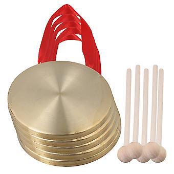 5 PCS Ópera Chinesa Gong Cymbals Dia 15cm com Martelo de Jogo Redondo de Madeira