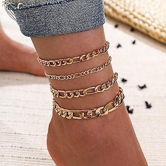 Vintage Bohemian Gold Color Chain Anklets