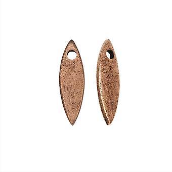 Final Sale - Flat Tag Pendant, Mini Navette 5x18mm, Antiqued Copper, 2 Pieces, by Nunn Design