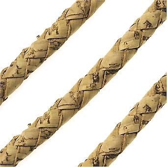 Portuguese Cork Cord by Regaliz, Round and Braided 6mm, Natural, by the Inch