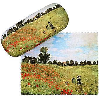 FengChun Brillenetui Claude Monet: Mohnblumenfeld Blumen Leicht Box Hardcase Edel Geschenk Stabil