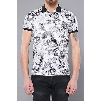 White leaf patterned polo t-shirt