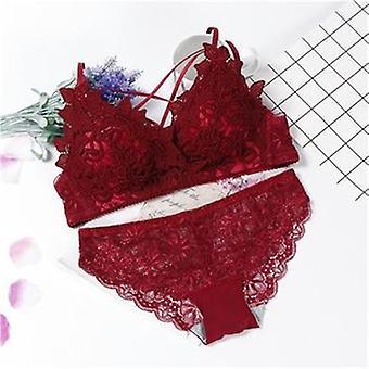 Lingerie Bra Set, Wire Free Lace Top & Underwear