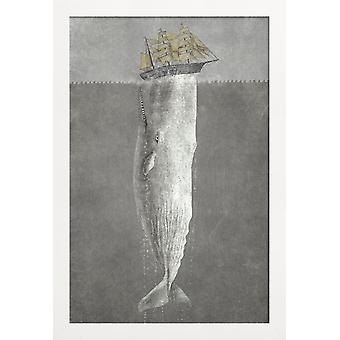 JUNIQE Print - Revenge of the Whale - Whale poster in grey
