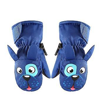 L modré fleece závesné rukavice na krku pre deti x4324