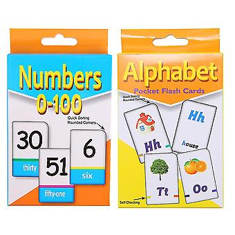 2 Sets Of Educational Flash Cards English Set For Toddler Kids Children Early Learning (alphabet And Number)