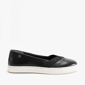 Hush Puppies Tiffany Ladies Leather Slip On Pumps Black/white