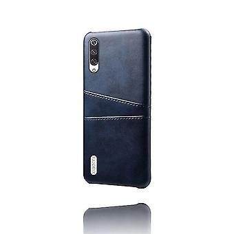 Dual Pocket Leder Shell Fall für Xiaomi Mi CC9e - blau