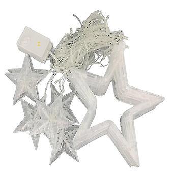 Branco 2.5m 138 levou 12 estrelas cortina luzes de corda cinco estrela pontuda luz estrelada para casa jardim festa de casamento natalina dt2839