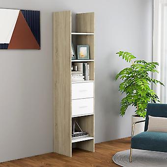 vidaXL bibliothèque blanc et sonoma-chêne 40x35x180 cm panneau de particules