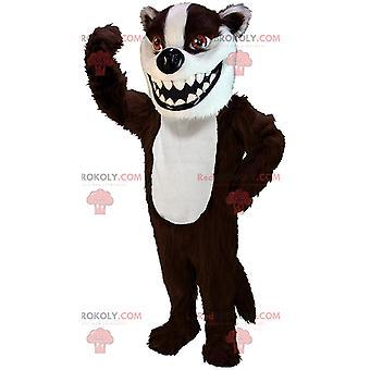 Mascote REDBROKOLY.COM texugo marrom e branco, traje de furão